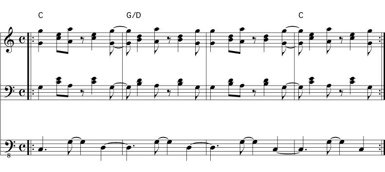 Two common salsa chord progressions | Playmontuno